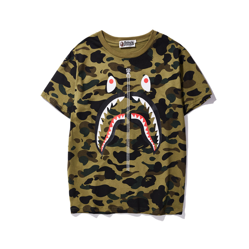 Bape Shark Green Camo Tee