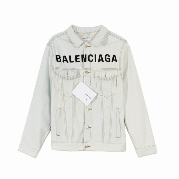 Balenciaga Chest Logo Denim Jacket White
