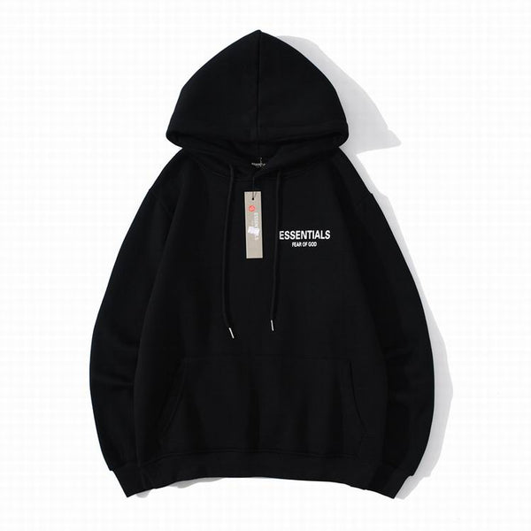 Fear Of God Essentıals Back Logo Hoodie Black