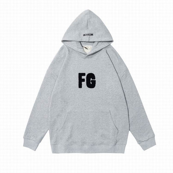 Fear Of God FG Logo Print Hoodie Heather Gray
