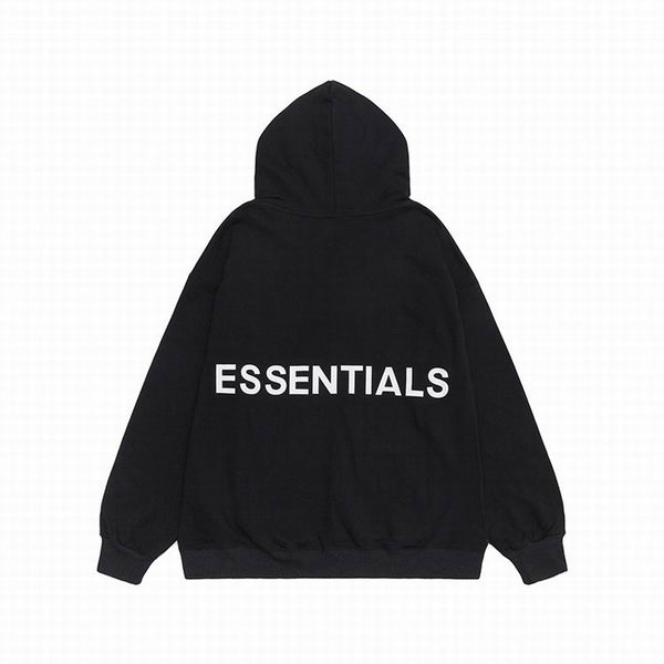 Fear Of God Essentials Back Logo Hoodie Black