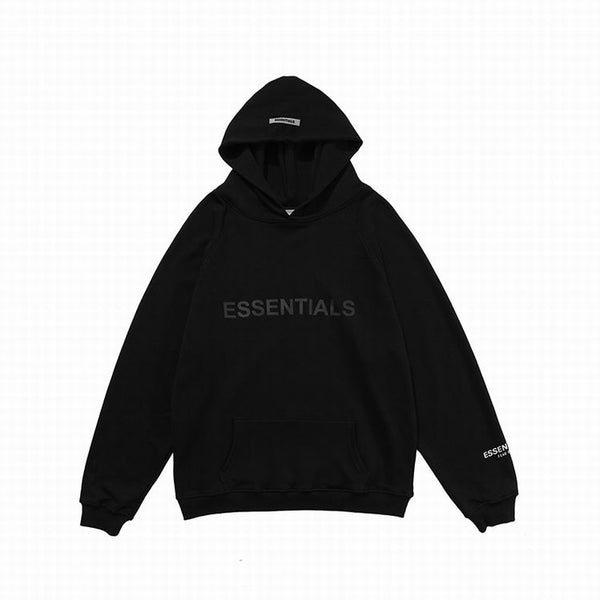 Fear Of God Front Logo Essentıals Hoodie Black