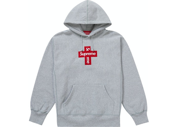 Supreme Cross Box Logo Hooded Sweatshirt Heather Grey