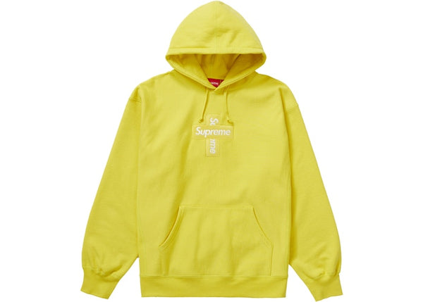 Supreme Cross Box Logo Hooded Sweatshirt Lemon