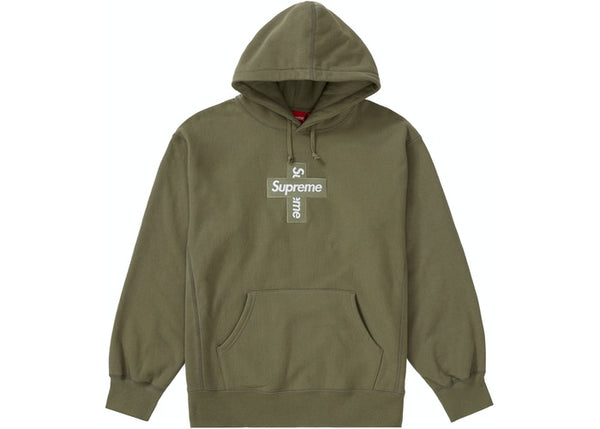 Supreme Cross Box Logo Hooded Sweatshirt Light Olive
