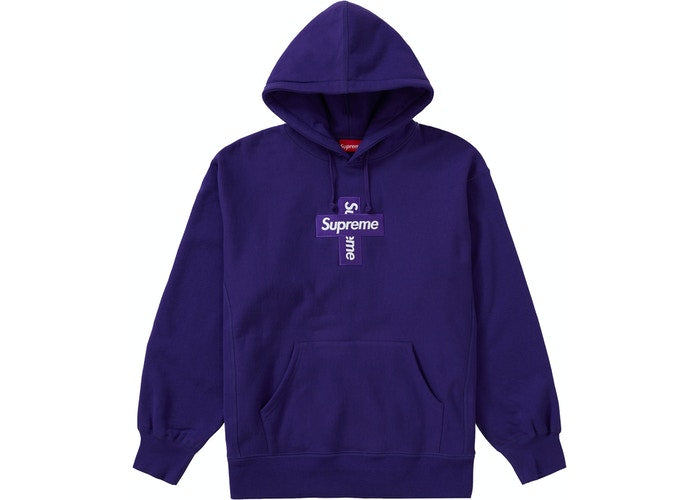 Supreme Cross Box Logo Hooded Sweatshirt Purple