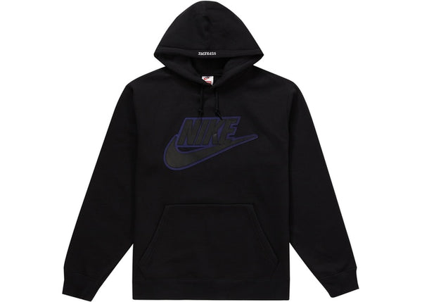 Supreme Nike Leather Applique Hooded Sweatshirt Black
