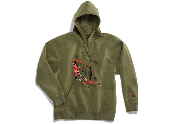 Travis Scott Air Jordan Washed Suede Hoodie Olive
