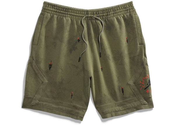 Travis Scott Air Jordan Washed Suede Shorts Olive