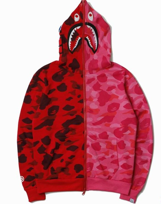 Bape Shark Zipper Hoodie Pink/Red Camo