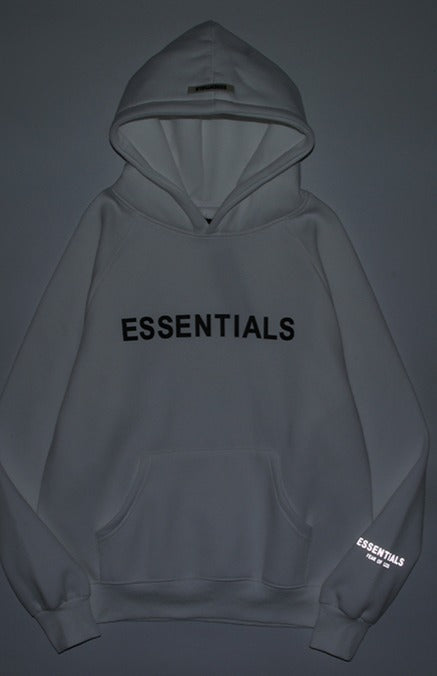 Fear Of God ESSENTIALS Reflective Logo Hoodie White