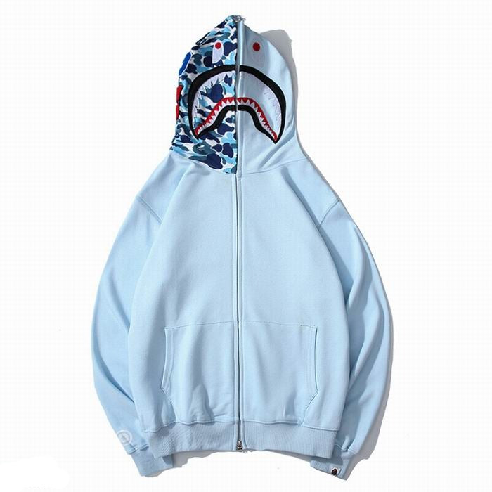 Bape Shark Zipper Baby Blue Color Hoodie