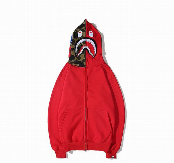 Bape Shark Zipper Red Color Hoodie