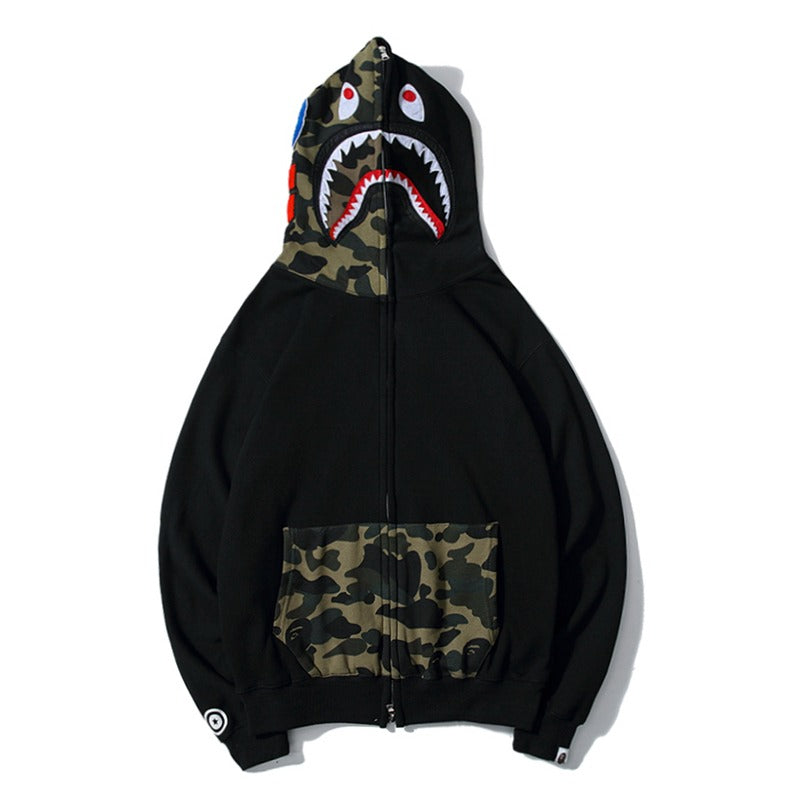 Bape Shark Zipper Black Green Camo Pocket Hoodie