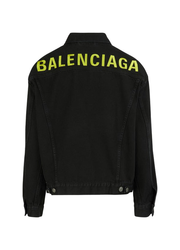 Balenciaga Back Logo Denim Jacket Black