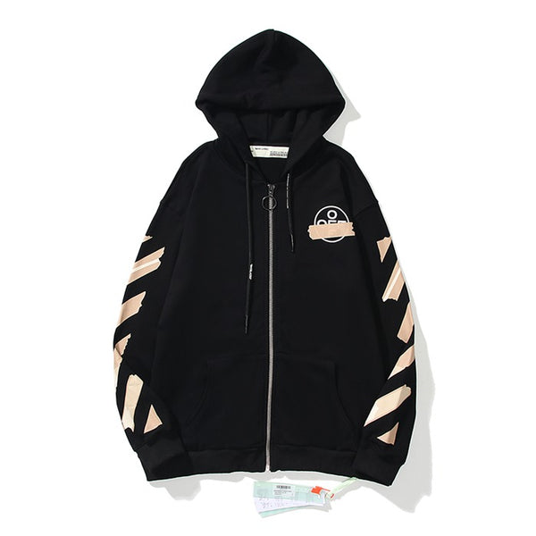 OFF-WHITE Tape Diag Arrows Zipper Hoodie Black
