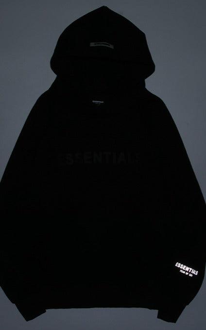 Fear Of God ESSENTIALS Reflective Logo Hoodie Black