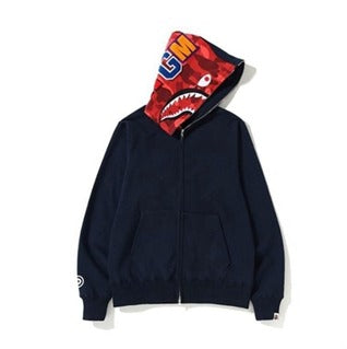 Bape Shark Zipper Navy/Red Camo Hoodie