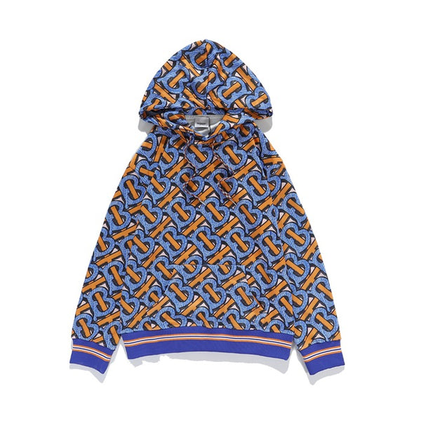 Burberry Monogram Print Cotton Hoodie Bright cobalt
