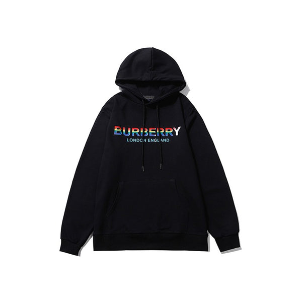 Burberry Multi Color Logo Print Hoodie Black