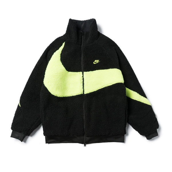 Nike BIG SWOOSH Double Sided Polar Jacket Black/Neon Green
