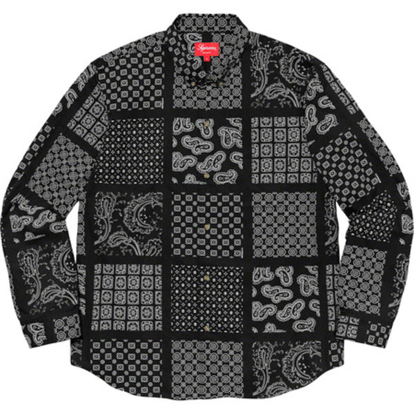Supreme Paisley Grid Shirt Black