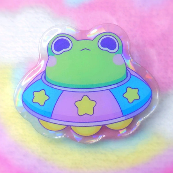 Froggy Objects: UFO Frog Acrylic Pin