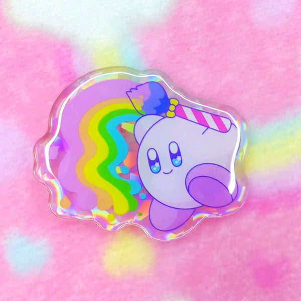 Kirby: Rainbow Paintbrush Acrylic Pin