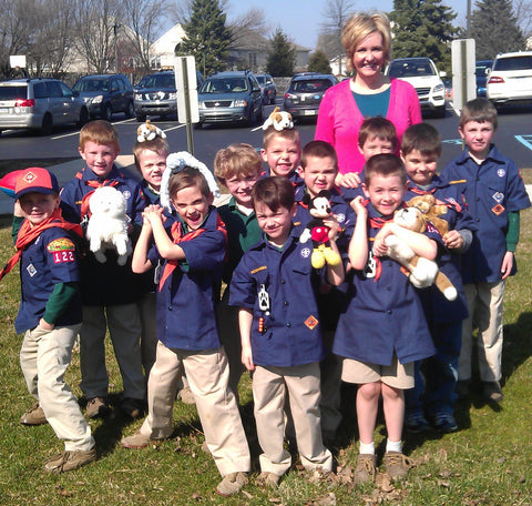 Gald Dogs Nation founder, Marianne Ahern, with Boy Scout Pack 122 in West Chester PA