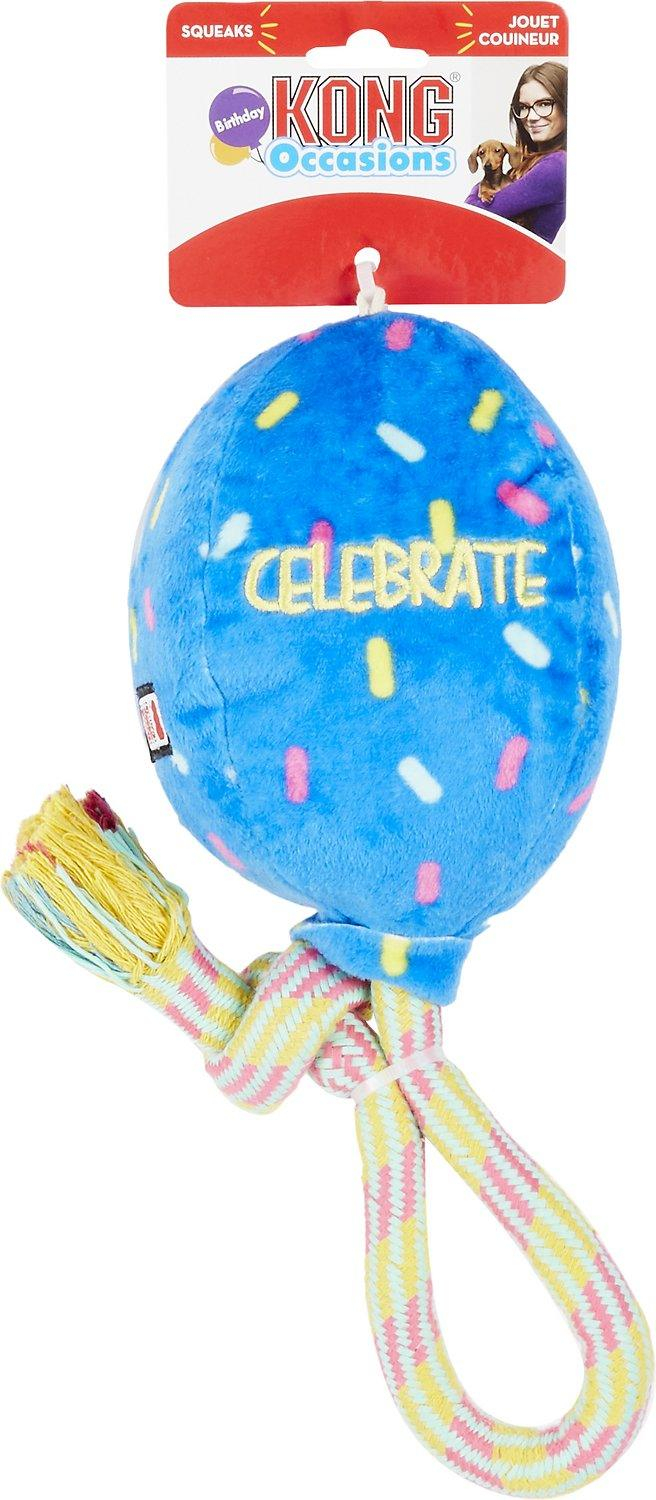 KONG Birthday & Celebrate Balloons Squeaky Fetch & Tug Toy: 3 Sizes