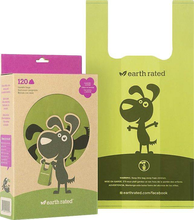 Earth Rated Handle Style Leak Proof Poo Bags for Dogs & Cats: Lavender Scent