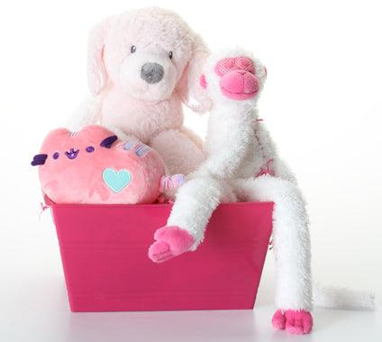 Pretty in Pink SQUEAKY Dog & Puppy Gift Basket: 3 Sizes