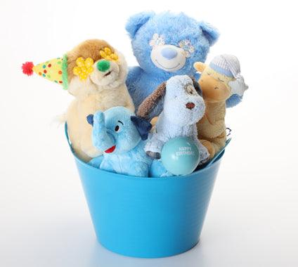Happy Birthday SQUEAKY Dog & Puppy Plush Toys Gift Basket / Blue Toys