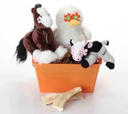 Down on the Farm Basket with SQUEAKY Toys: 3 Sizes