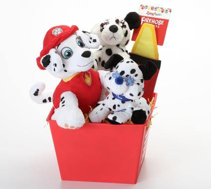 Dalmatian SQUEAKY Dog/Puppy Gift Basket with Firehose Toy: 2 Sizes
