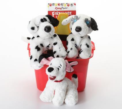 Dalmatian SQUEAKY Dog/Puppy Gift Basket with Firehose Toy: 2 Sizes - Glad Dogs Nation | www.GladDogsNation.com