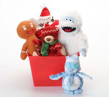 Holiday Basket with SQUEAKY Holiday Toys: 4 Sizes