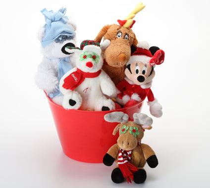 Holiday Gift Basket with SQUEAKY Holiday Dog Toys: 4 Sizes