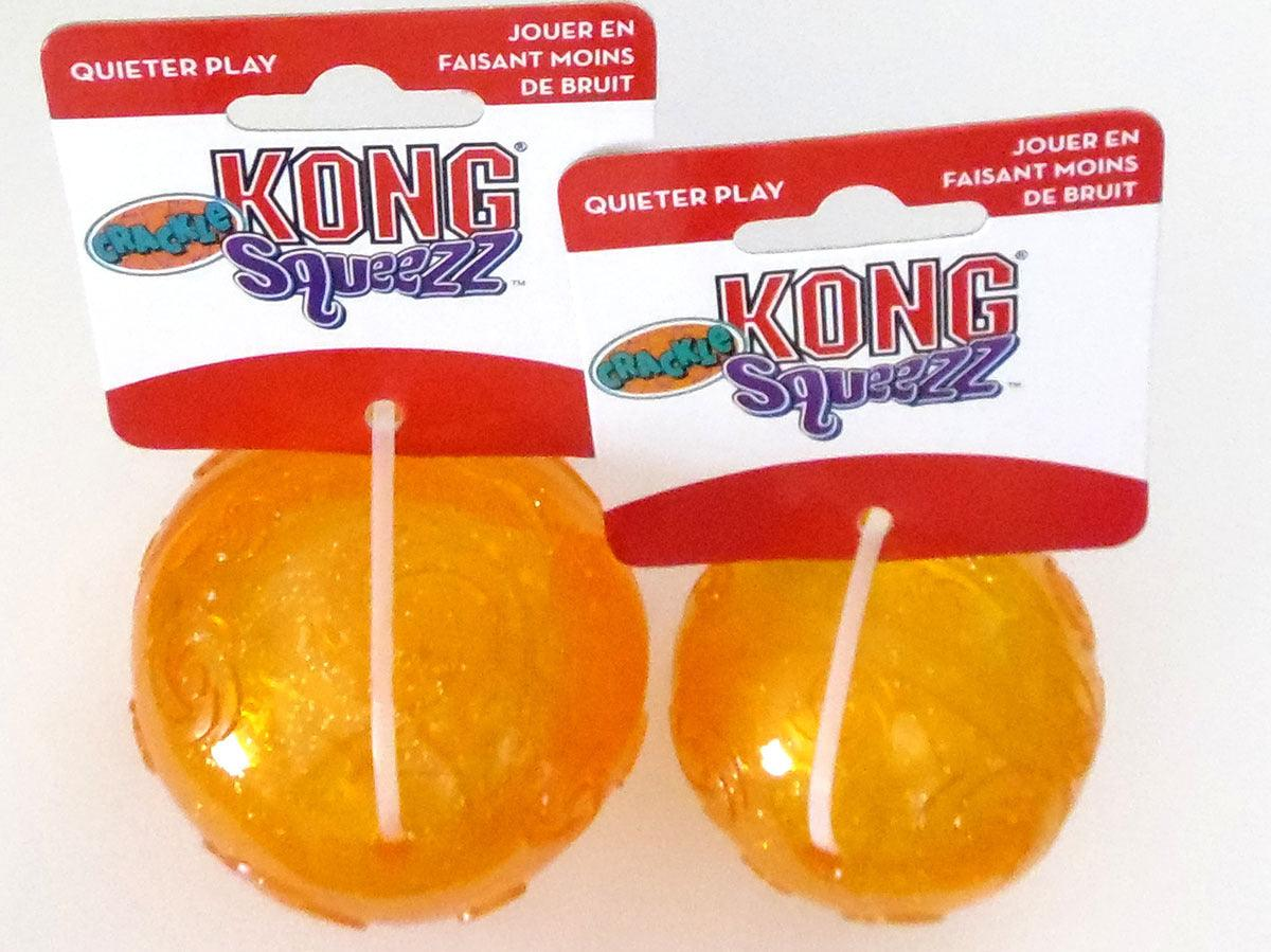Kong Squeezz Crackle Ball: Quiet Chewing!