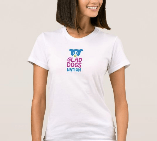 Glad Dogs Nation Short Sleeve White T-Shirt for Women