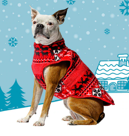 50% OFF! Bailey & Bella Red Fair Isle Zip Vest: Medium - Glad Dogs Nation | www.GladDogsNation.com