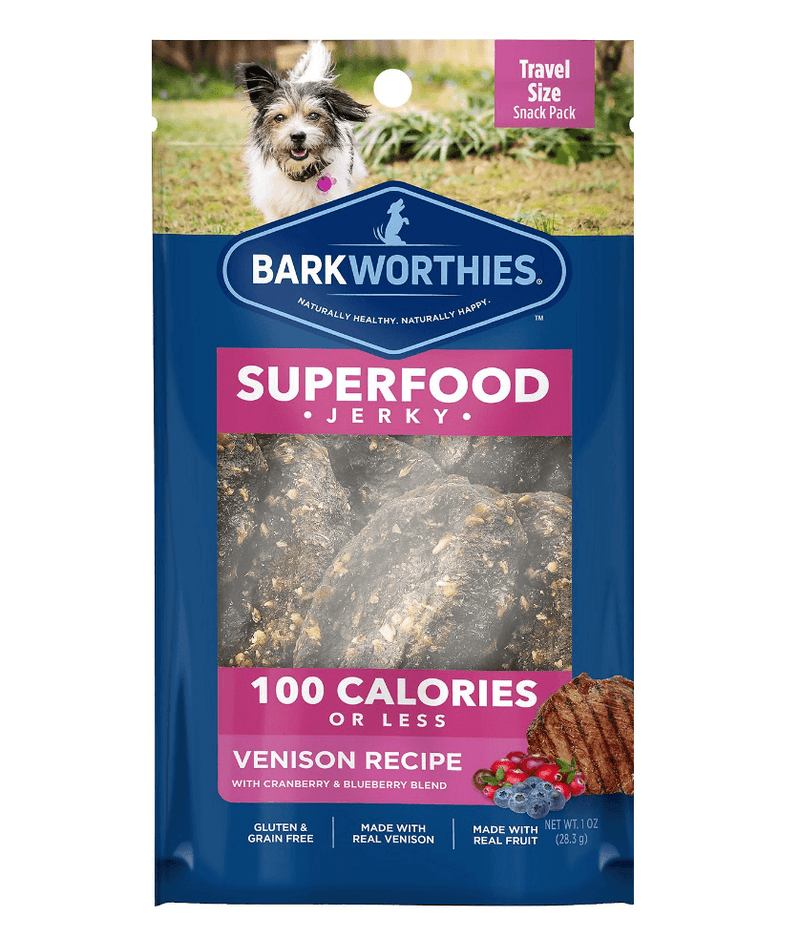 Barkworthies SUPERFOOD Venison Jerky w/Blueberry & Cranberry 100 Calorie Pack