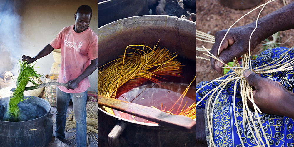 Ghanaian artisans, dyeing grass and weaving
