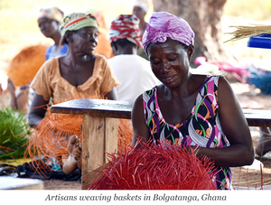 Artisans weaving baskets in Bolgatanga, Ghana