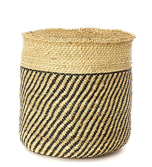Iringa Basket with diagonal black stripes