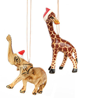 Christmas ornaments: elephant with santa hat, giraffe with santa hat