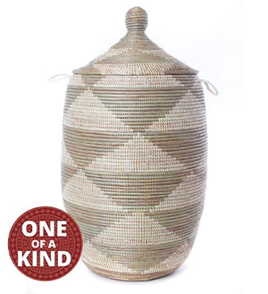 Silver & White Senegal Hamper with Lid