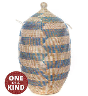 African baskets | One of a Kind Blue and White Senegalese Hamper Basket with Handles & Lid