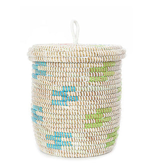 African basket | Small white lidded basket with colorful cloud design