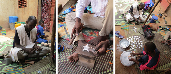 Shooting Star ornament is crafted in Burkina Faso by Malian refugees.